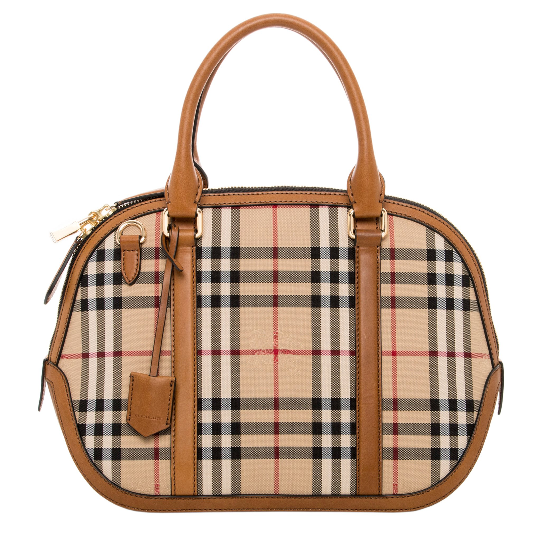 Burberry Women's Small Horseferry Check Orchard Satchel Tan