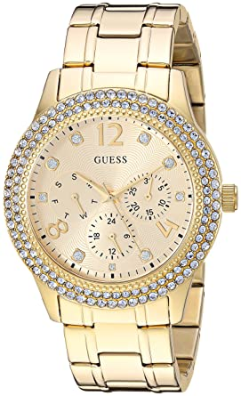 efea61b66 Amazon.com: GUESS Women's Japanese-Quartz Watch with Stainless-Steel Strap,  Color: Gold-Tone, 19.5: ((Model: U1097L2)): Watches