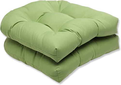 Pillow Perfect Outdoor Indoor Sunbrella Canvas Gingko Tufted Seat Cushions Round Back , 19 x 19 , Green, 2 Pack