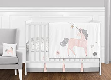 Sweet Jojo Baby Crib or Toddler Fitted Sheet for Pink Grey Unicorn Girl Bedding