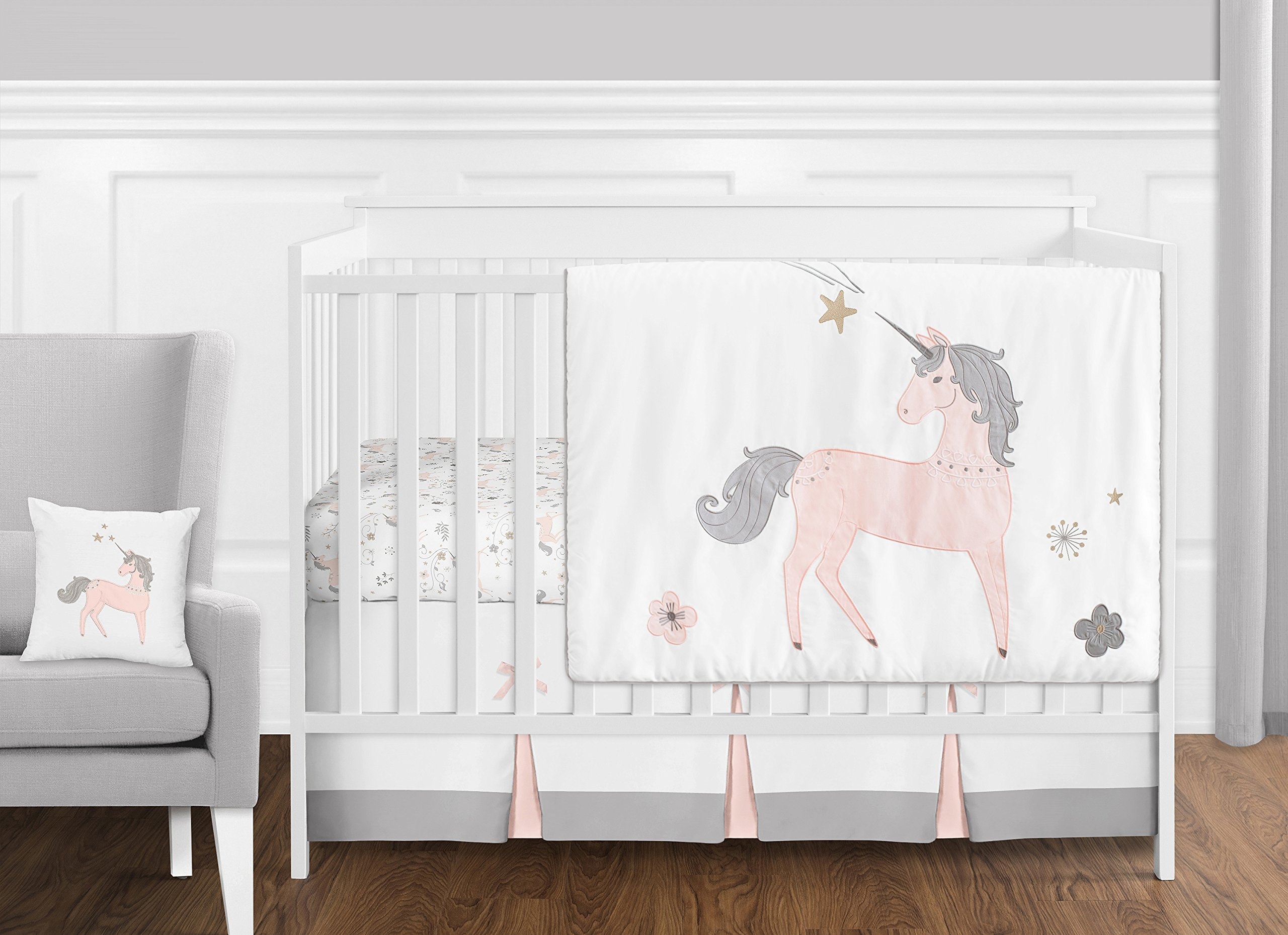 11 pc. Pink, Grey and Gold Unicorn Baby Girl Crib Bedding Set without Bumper by Sweet Jojo Designs by Sweet Jojo Designs
