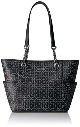 0e663d4586 Amazon.com: Calvin Klein Key Item Chain Monogram Tote, black/silver:  Clothing