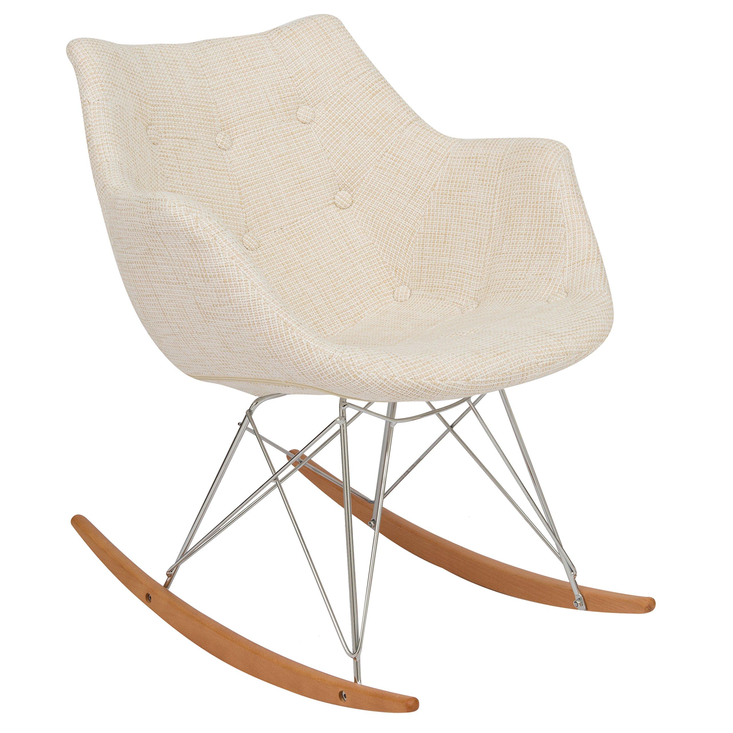 LeisureMod Willow Fabric Eiffel Base Modern Petite Rocking Chair in Beige