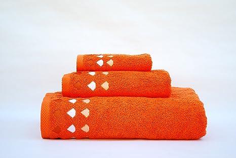 Juego de 3 toallas(100x150, 50x100, 50x30)mod. diamante naranja,