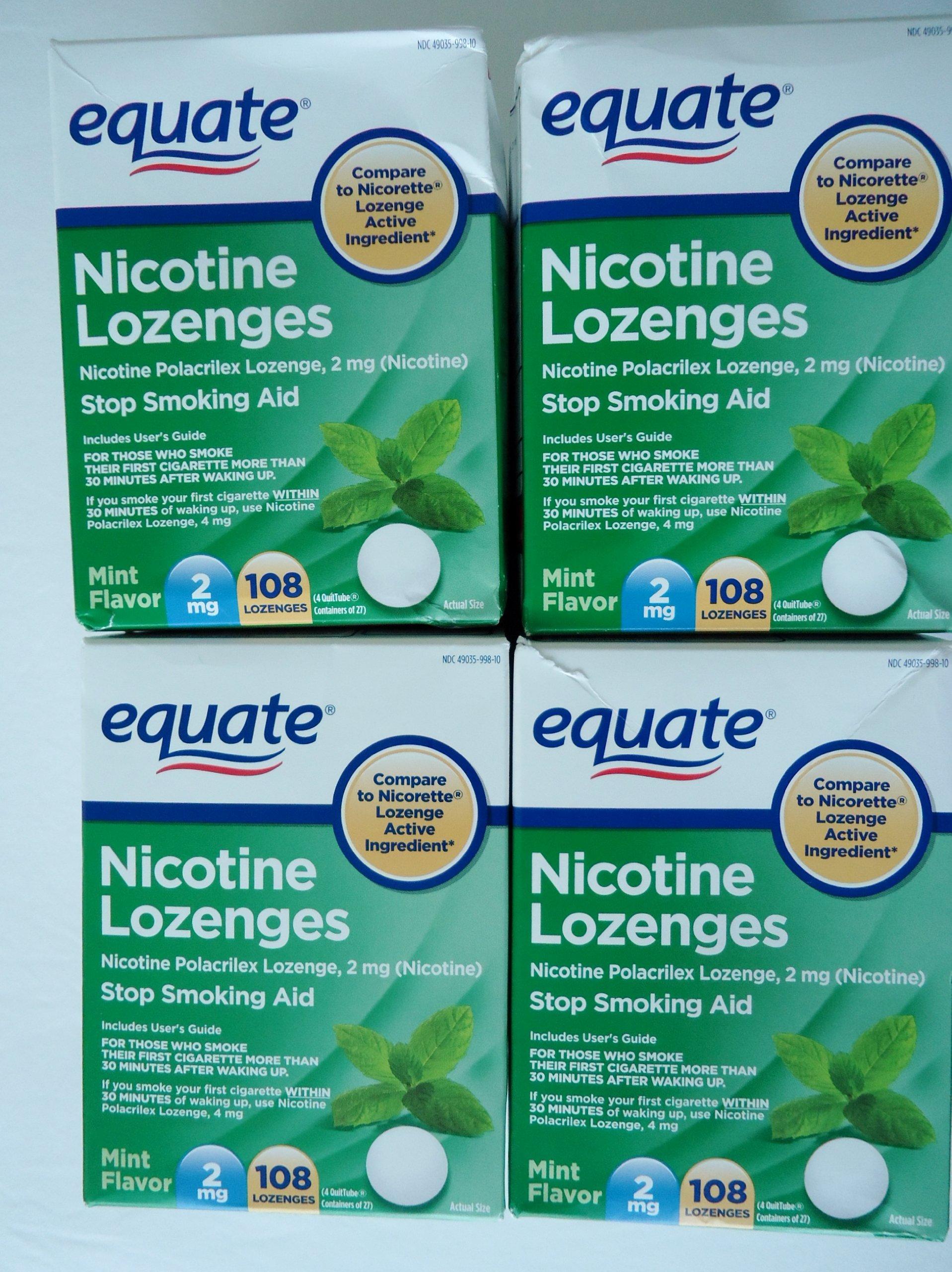 Equate - Nicotine Lozenge 2 mg, Mint Flavor, 108 Lozenges,PACK OF 4