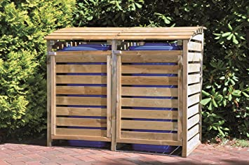 Bekannt Mülltonnen-Box Mülltonnenverkleidung für 2 Tonnen inkl. Rückwand HA97