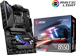 MSI MPG B550 Gaming Carbon WiFi Gaming Motherboard (AMD AM4, DDR4, PCIe 4.0, SATA 6Gb/s, Dual M.2, USB 3.2 Gen 2, HDMI/DP, Wi-Fi 6 AX, ATX) (B550GCARBWIFI)