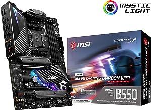 MSI MPG B550 Gaming Carbon WiFi Gaming Motherboard (AMD AM4, DDR4, PCIe 4.0, SATA 6Gb/s, Dual M.2, USB 3.2 Gen 2, HDMI/DP, Wi-Fi 6 AX, ATX) (B550GCARBWIFI)