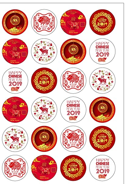 24 Precut Round Chinese New Year 2019 Year of Pig Edible Wafer Paper Cake  Toppers