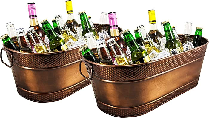 BREKX Colt Copper-Finish Hammered Galvanized Beverage Tubs, Rust-Resistant and Leak-Proof Ice and Drink Bucket with Handles, 15 Quarts, Set of 2