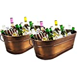 BREKX Colt Copper-Finish Hammered Galvanized Beverage Tubs, Rust-Resistant and Leak-Proof Ice and Drink Bucket with…