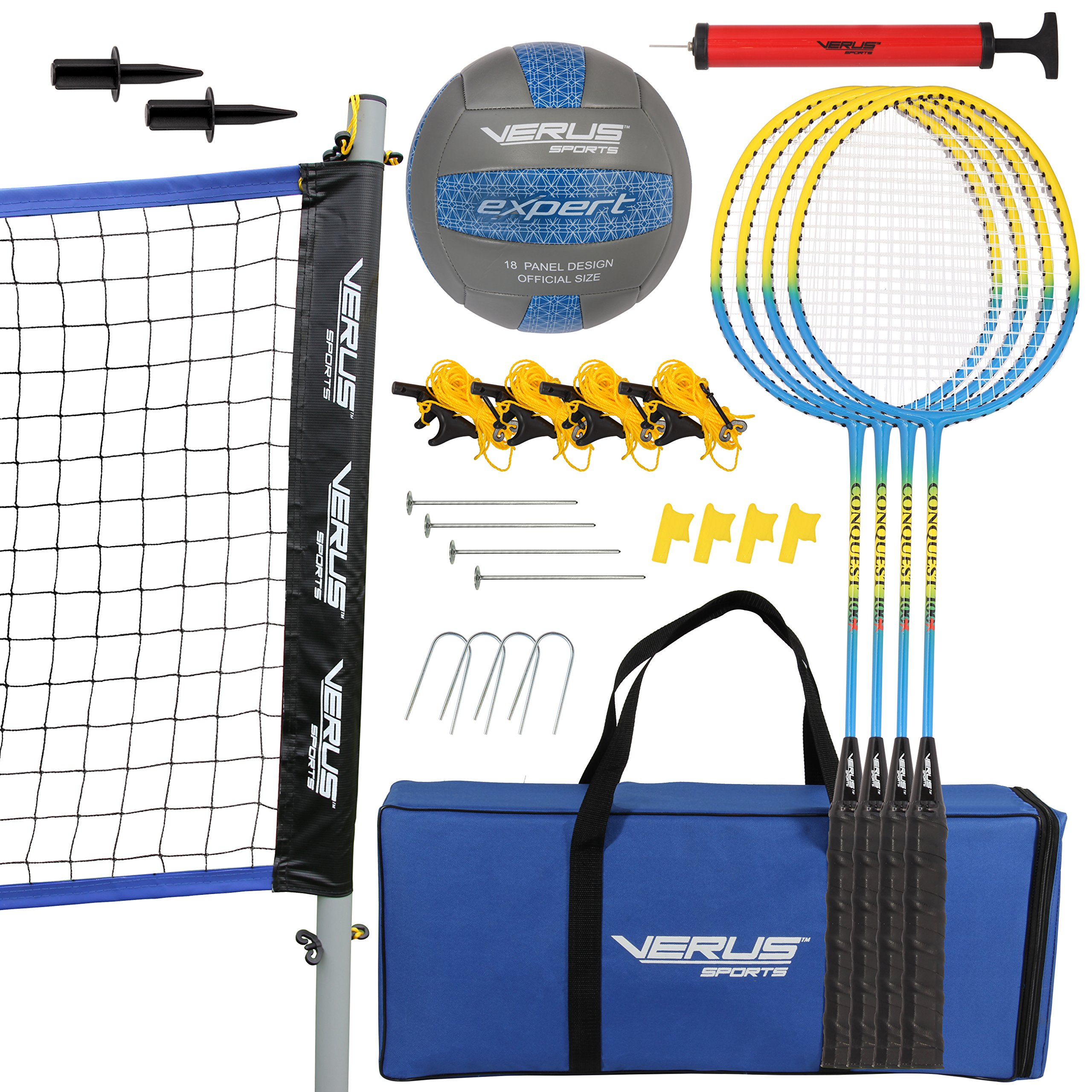 Verus Sports CS700 Expert 2-Game Volleyball/Badminton Sets, Black