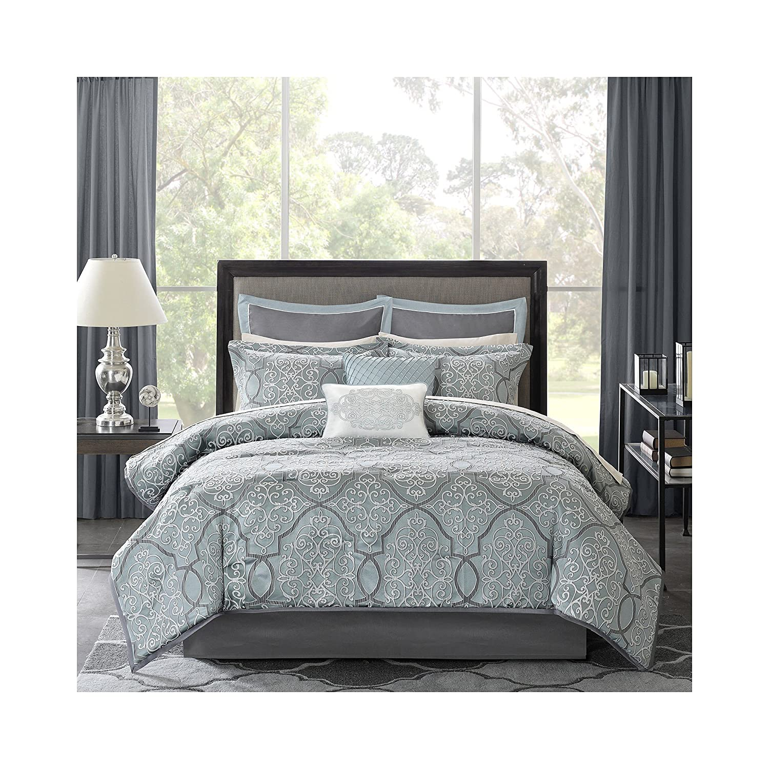 Madison Park MP10-1666 Lavine 12Piece Jacquard Comforter Set King , Blue , King,Blue,King