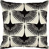 """Rivet Modern Velvet Geese Silhouette Pillow, 17"""" x 17"""" , Black"""