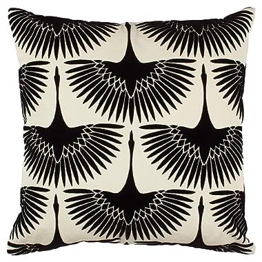 Rivet Modern Velvet Geese Silhouette Pillow, 17  x 17  , Black