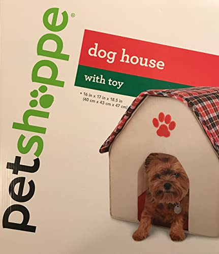 Pet Shoppe Dog House with Toy for Small Breed Dogs, 18 x 17 x 16