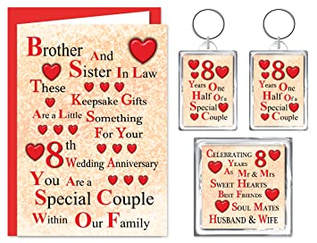 Brother Sister In Law 8th Wedding Anniversary Gift Set Card 2