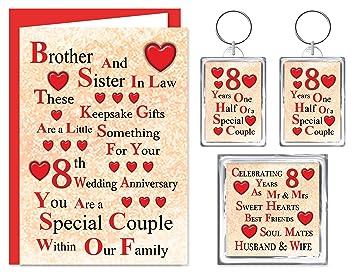 8 Hochzeitstag | Brother Sister In Law 8 Hochzeitstag Geschenk Set Karte 2