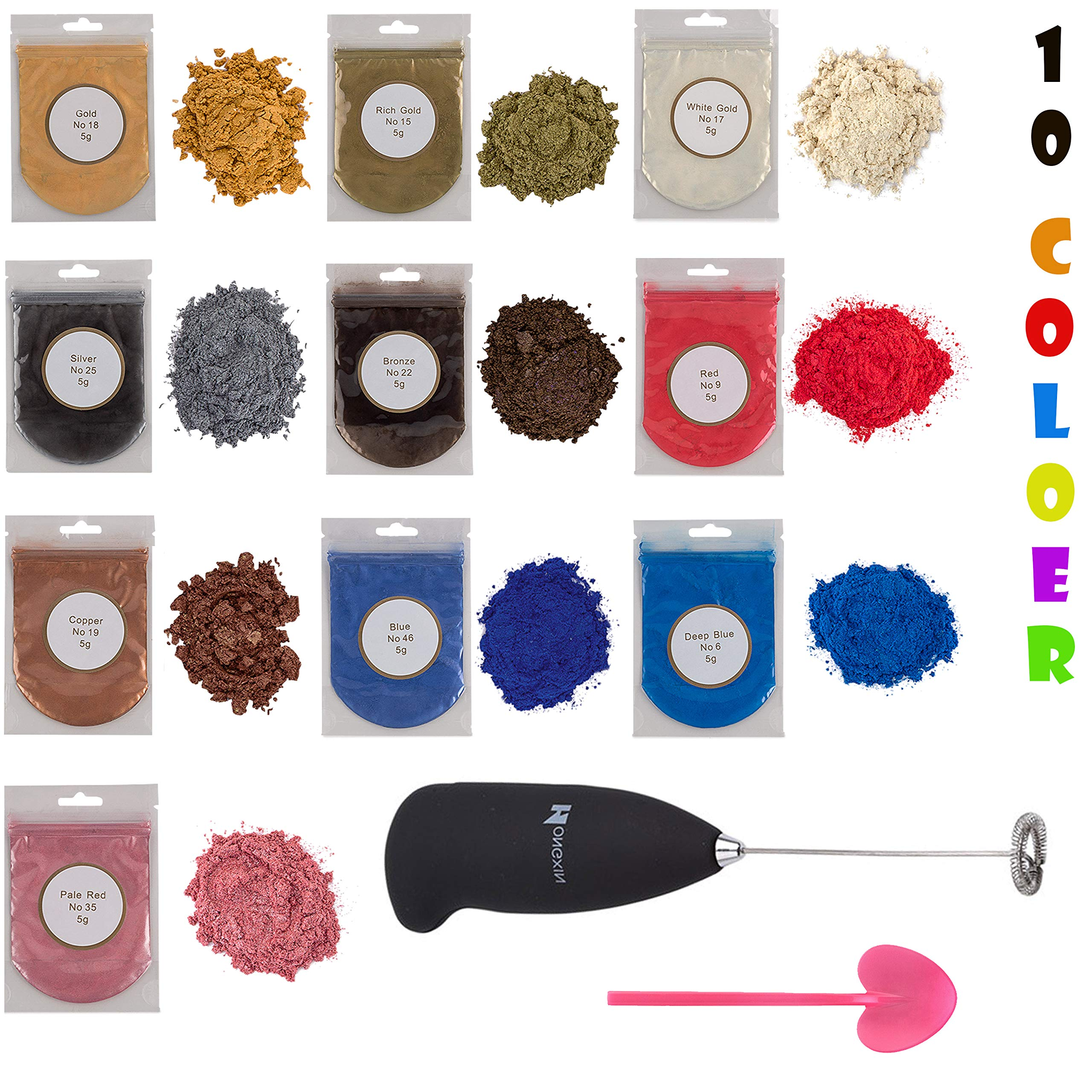 Metallic epoxy Resin Color Pigment 10 Colors Gold, Silver, Blue and Red Collections Metallic Mica Powders with Mixing Supplies Resin kit by L5 color