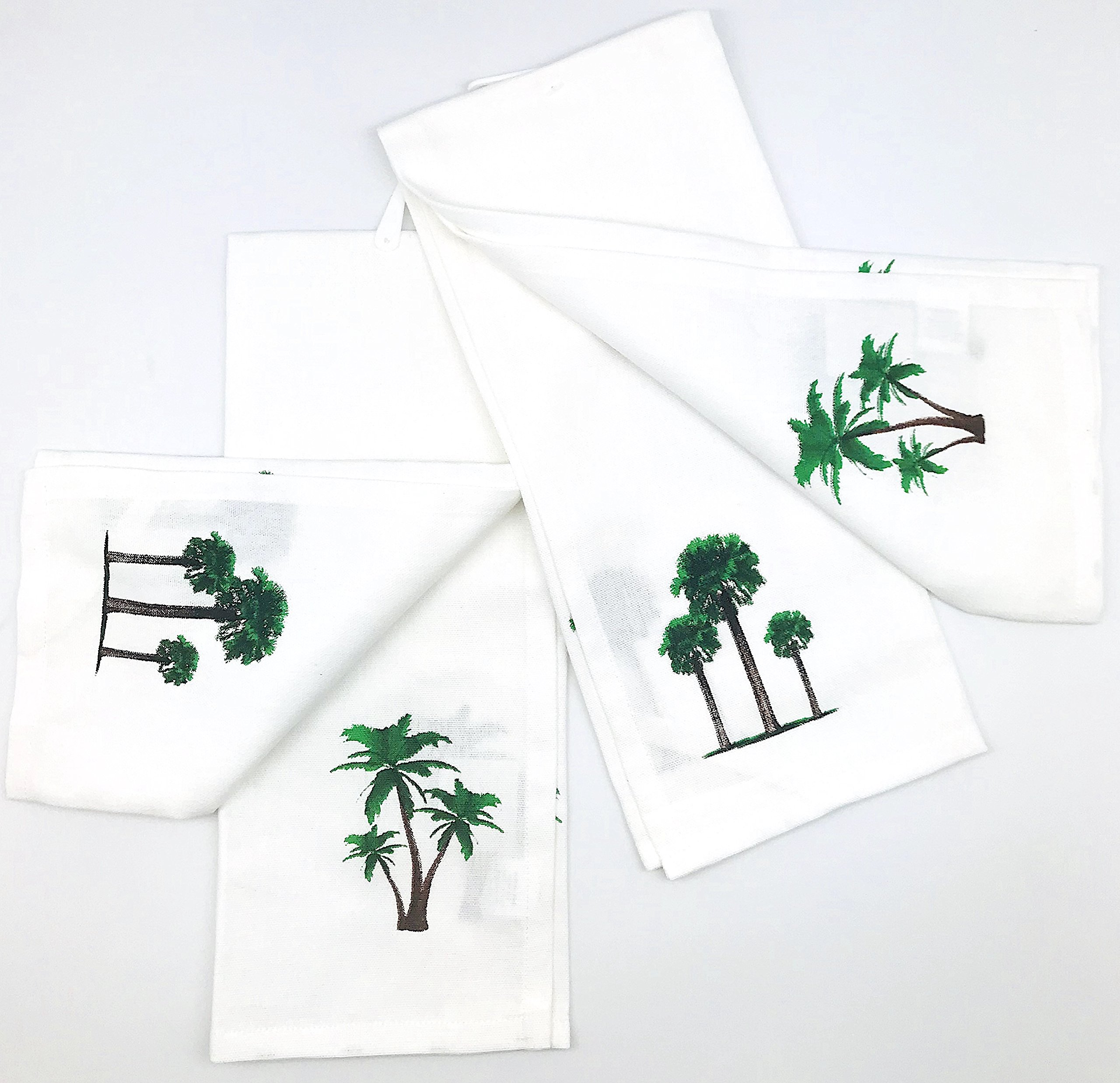 INDIA OVERSEAS Tropical Palm Trees Hand Towels: Simply Fun Refreshing Design, Set of 2