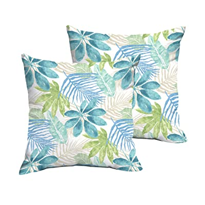 Mozaic AMPS115785 Indoor Outdoor Square Pillow with Corded Edges, Set of 2, 16 x 16, Tropical Blue & Green : Garden & Outdoor