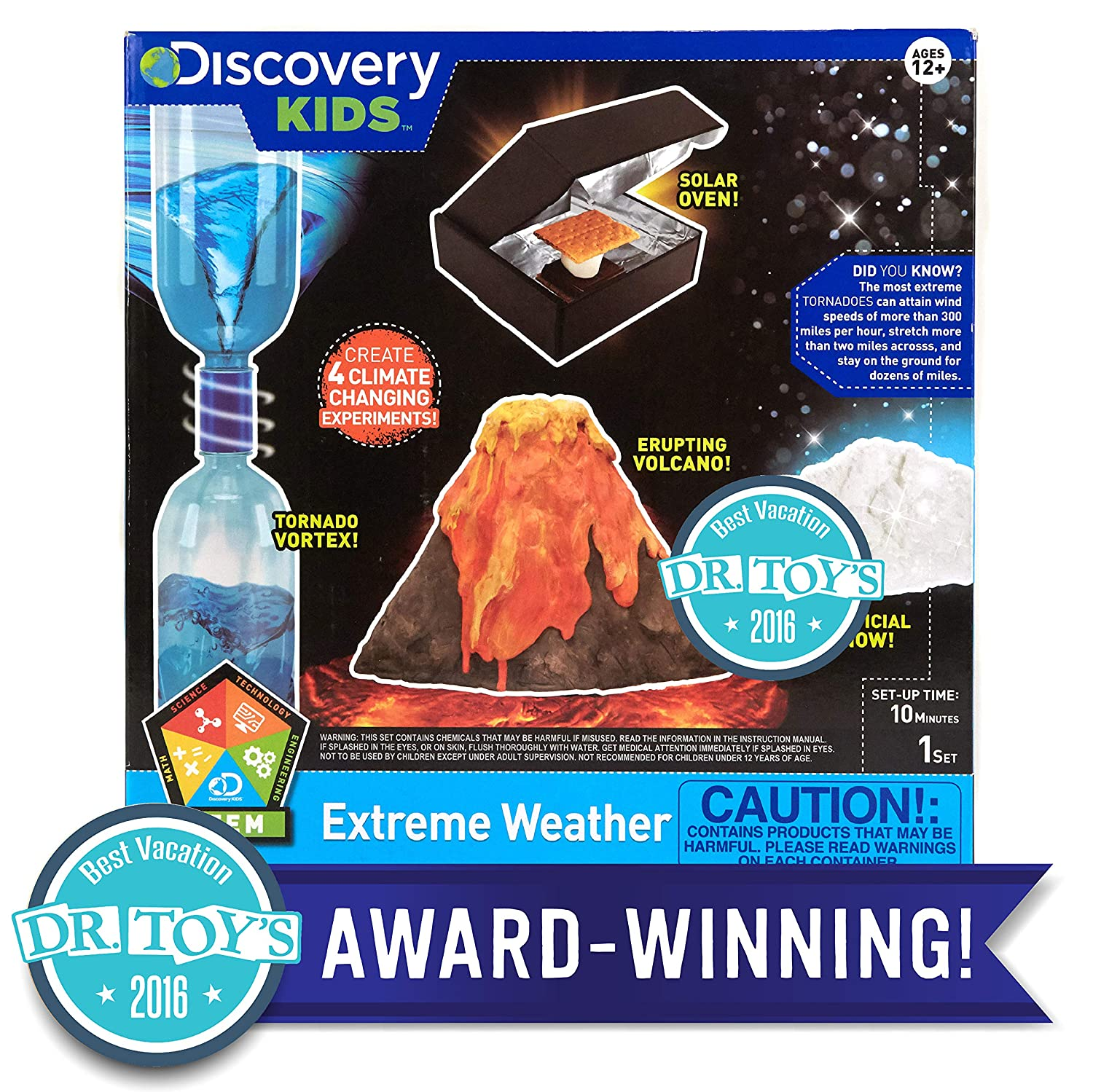 Discovery Kids Extreme Weather Stem Science Kit by Horizon Group Usa, Perform 4 Science Fair Experiments, Tornado Vortex, Erupting Volcano, Solar Oven & Artificial Snow