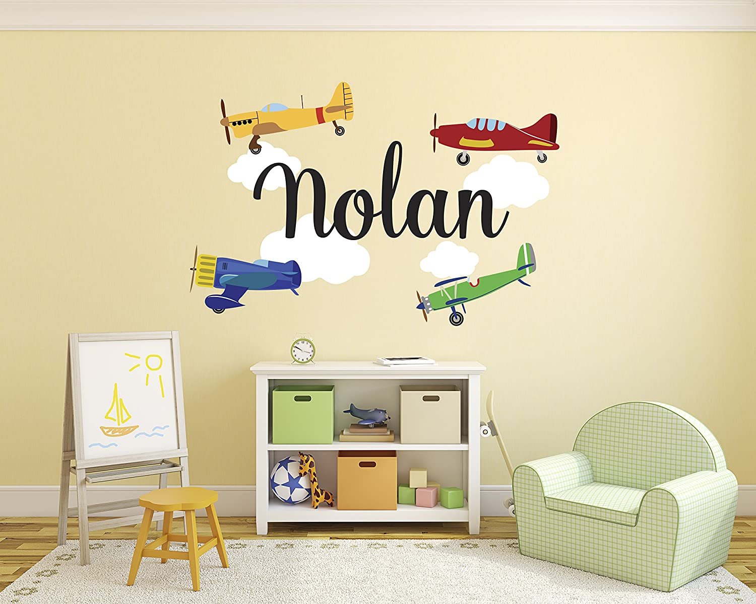 Amazon.com: Personalized Airplanes Name Wall Decal - Baby Boy Room ...