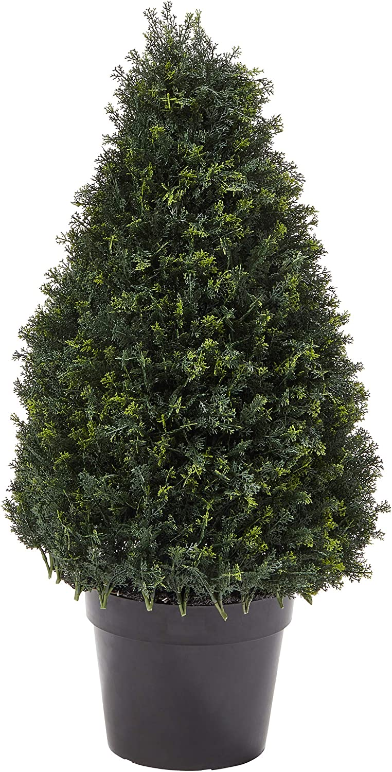 "Home Pure Garden Artificial Cypress Topiary-37"" Tower Style Faux Plant in Sturdy Realistic Indoor or Outdoor Potted Shrub Décor"