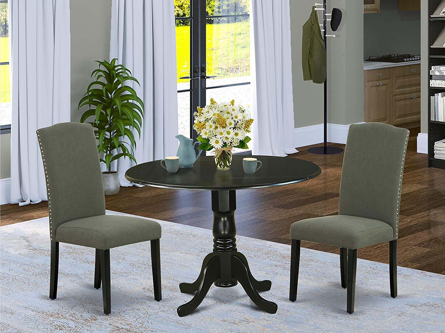 East West Furniture 3Pc Round 42 Inch Dining Table 9-Inch Drop Leaves And Two Parson Chair With Black Leg And Linen Fabric Dark Gotham Grey, 3