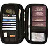 Travel Wallet Passport Holder Family Document Card Organiser RFID Secured Holiday Money Bag Pouch with Free Luggage Belt/Strap (Black)