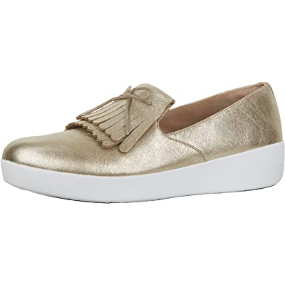 FitFlop Womens Superskate Fringe Metallic Leather Loafer Shoes | Loafers & Slip-Ons