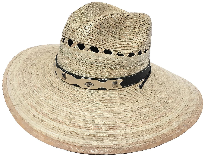 266279bf67cff Mexican Palm Western Sombrero Cowboy Hat Safari Sun Lifeguard Gardener SPF Big  Brim at Amazon Men s Clothing store