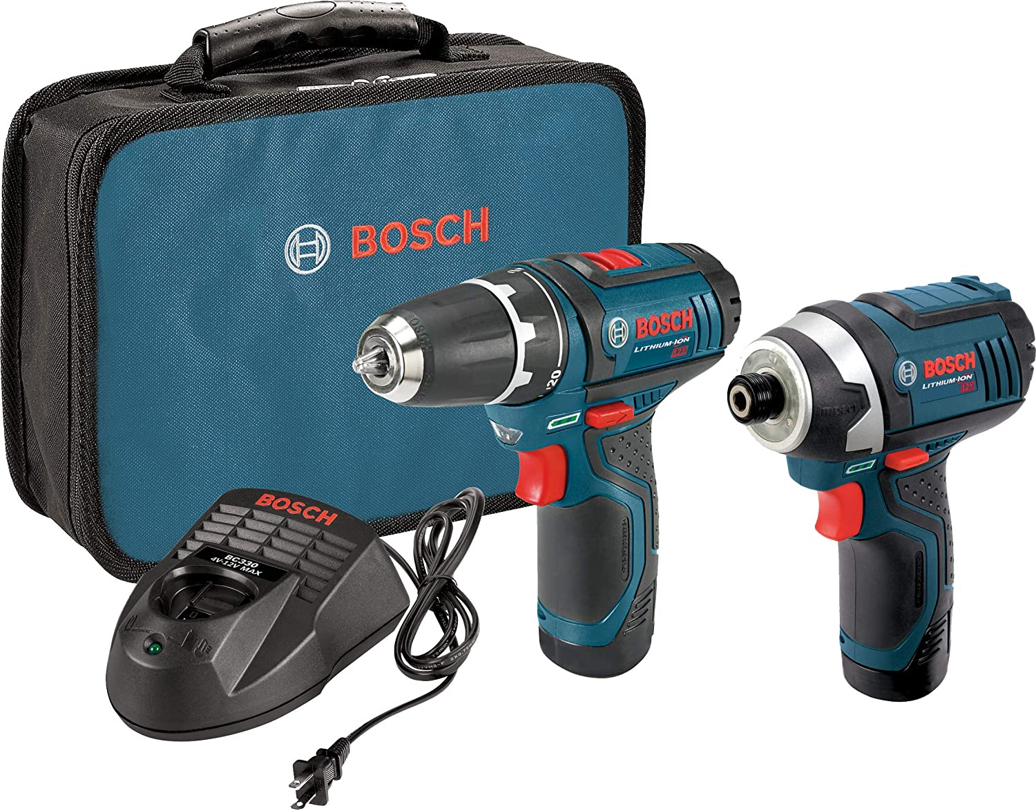 Bosch Power Tools Combo Kit Clpk22 120   12 Volt Cordless Tool Set (Drill/Driver And Impact Driver) With 2 Batteries, Charger And Case by Bosch