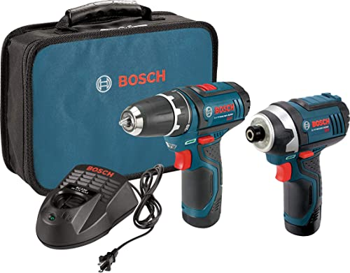 Bosch Power Tools Combo Kit CLPK22-120 – 12-Volt Cordless Tool Set Drill Driver and Impact Driver with 2 Batteries, Charger and Case