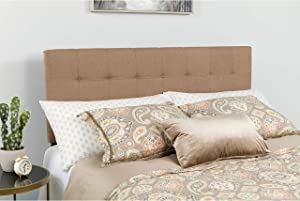 Flash Furniture Bedford Tufted Upholstered Queen Size Headboard in Camel Fabric