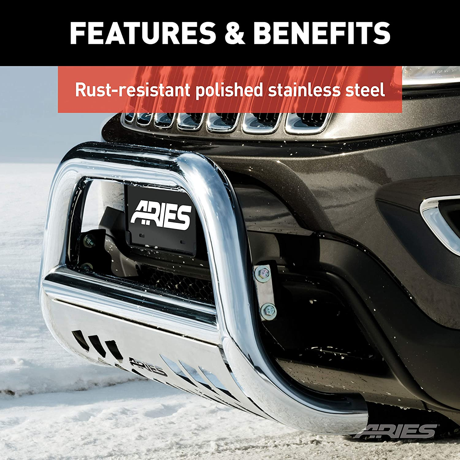 Aries Automotive 35-4009 Stainless Steel Bull Bar with Skid Plate