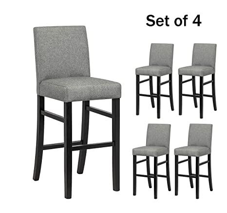 Brilliant Yeefy Dining Chairs High Bar Height Side Chairs With Wood Legs Set Of 4 Gray Uwap Interior Chair Design Uwaporg
