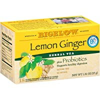 Bigelow Lemon Ginger with Probiotics, 18 Count Box,  Pack of 6 Boxes, 108 Tea bags...