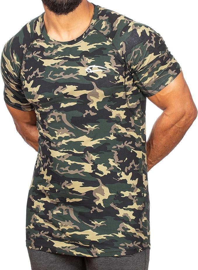 SMILODOX Camouflage Slim Fit T-Shirt Herren | Kurzarm
