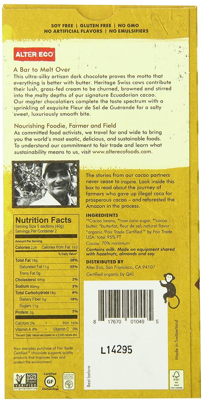 Amazon.com : Alter Eco - Chocolate - Dark Brown Butter 70 ...