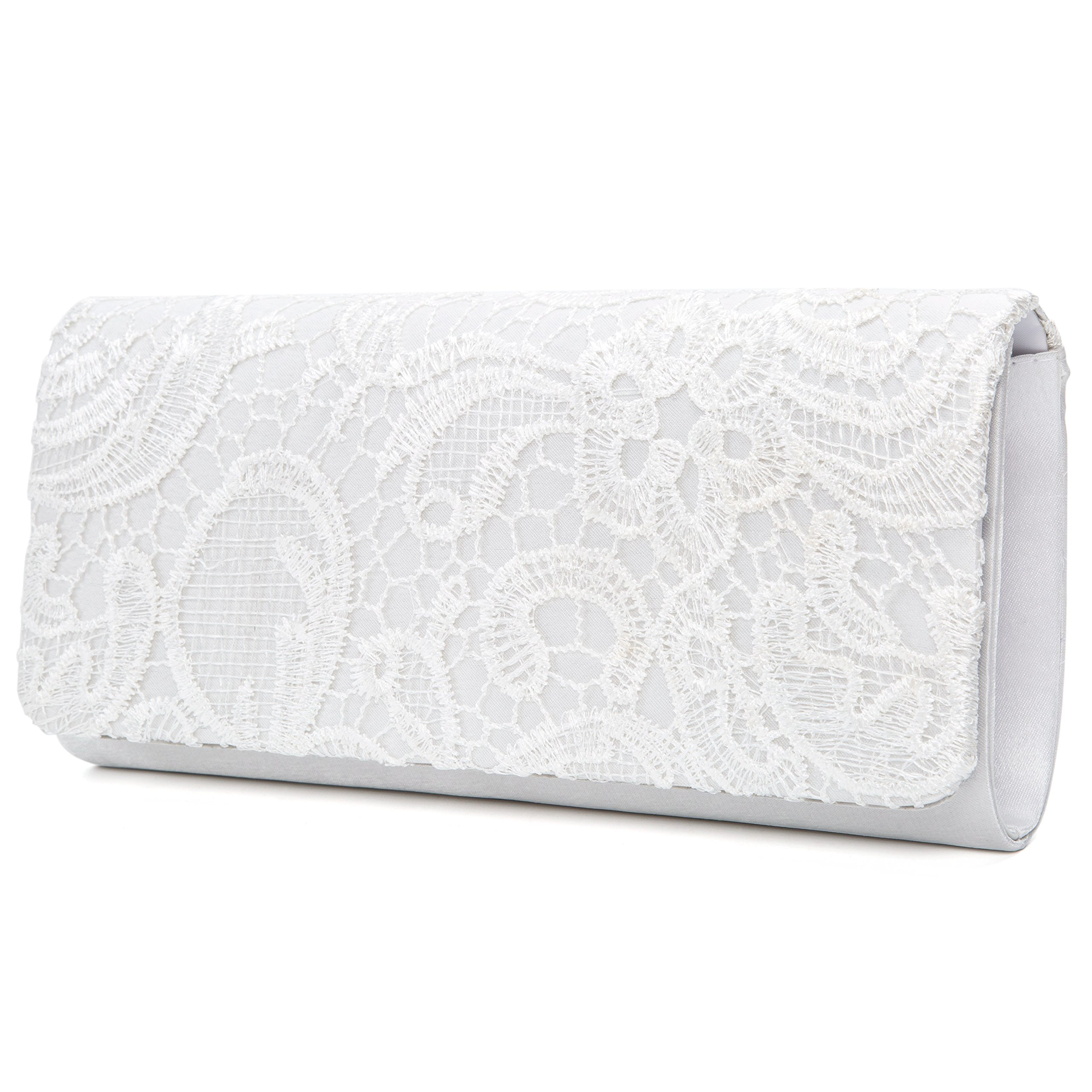 Chichitop Women's Elegant Floral Lace Evening Party Clutch Bags Bridal Wedding Purse Handbag,White by Chichitop (Image #4)