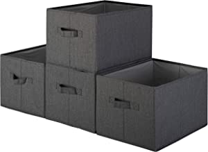Pomatree Storage Baskets - 4 Pack - Sturdy Large Fabric Bins   Foldable Organizing Basket Bin for Home, Nursery, Closet & Shelves Organization   Storage Basket Cube Shelf Organizer (Black)