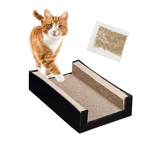 Relaxdays Rascador para Gatos de Cartón con Hierba Gatera 4 Piezas, Marrón, 12 x