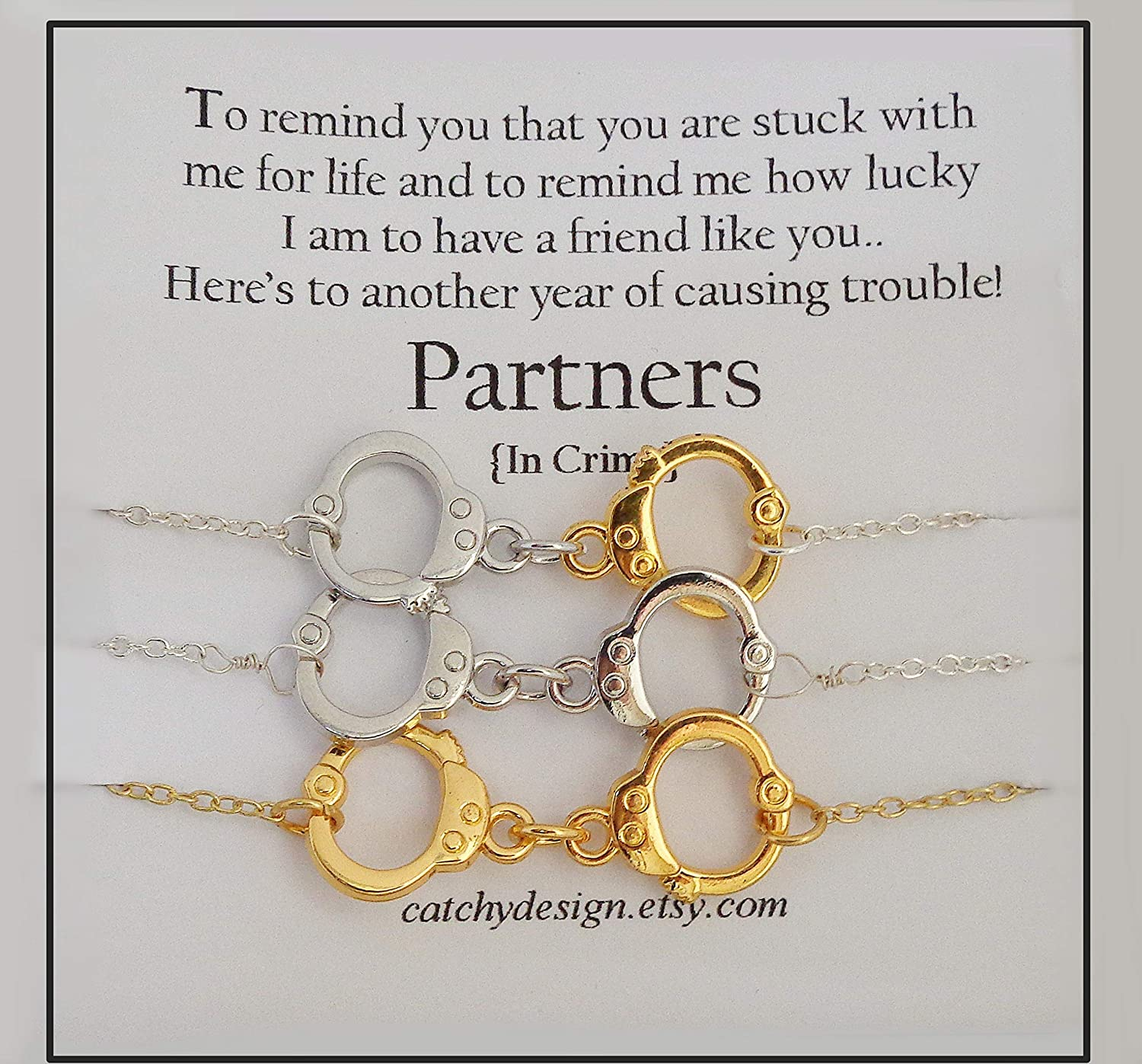 com best friend gift set of partners in crime necklaces