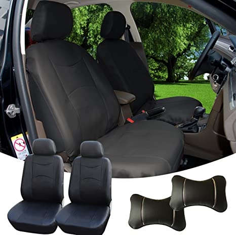 Amazon Com 515901 Black Leather Like 2 Front Car Seat Covers 2