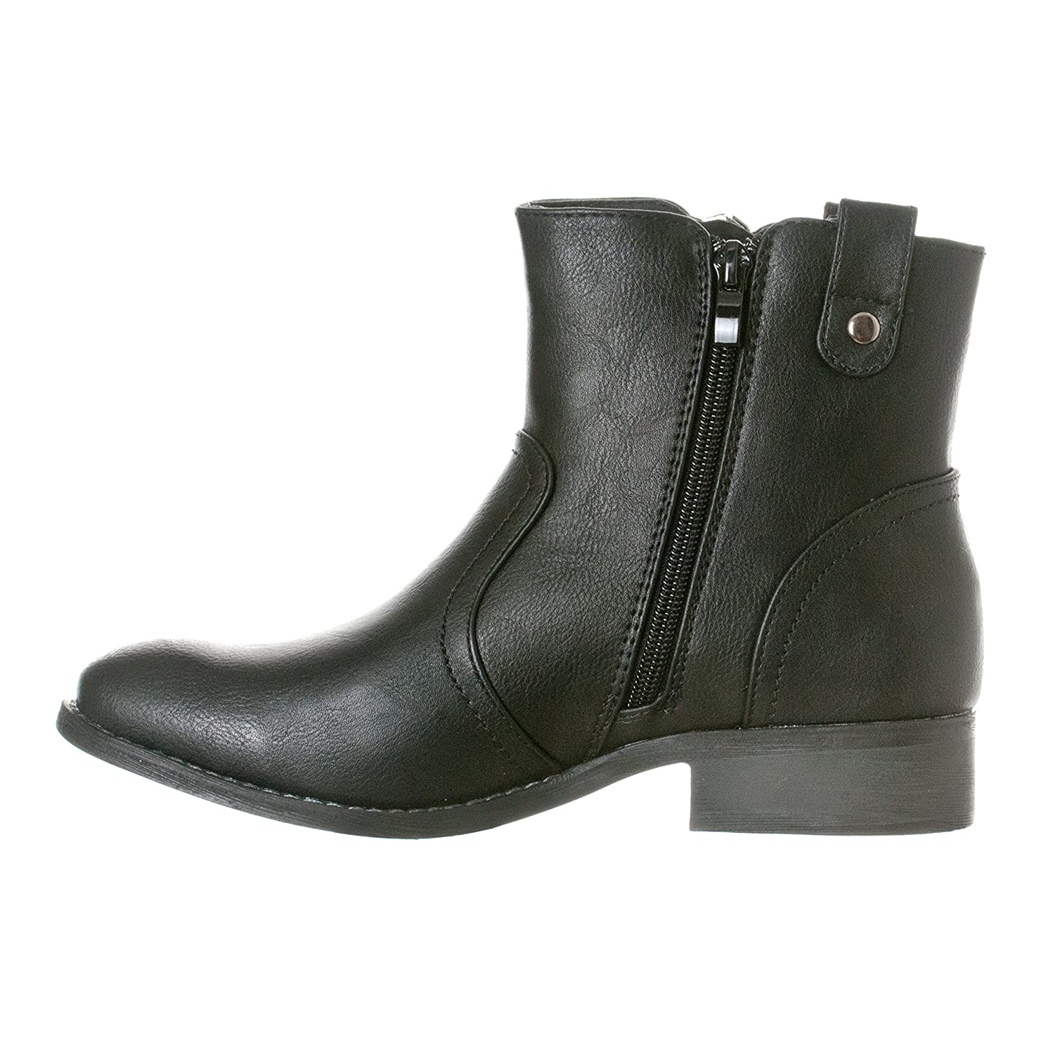 7f68aad859a6a Amazon.com | Riverberry Women's Hailey Western Style Low Heel Zip-Up Ankle  Bootie Boots | Ankle & Bootie
