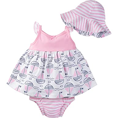 Gerber Baby Girls' Sundress, Bloomer and Hat Set, Sailboats, 0-3 Months