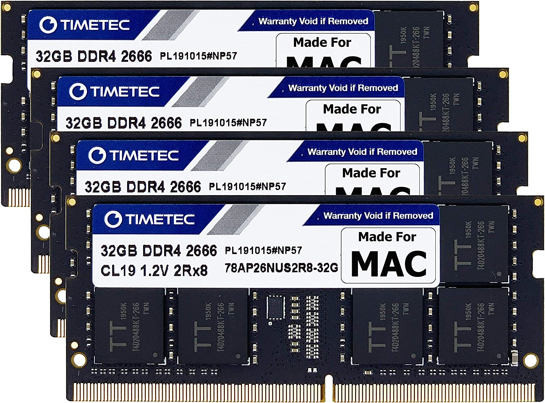 Timetec Hynix IC 128GB KIT(4x32GB) Compatible for Apple DDR4 2666MHz for Mid 2020 iMac (20,1/20,2) / Mid 2019 iMac (19,1) 27-inch w/Retina 5K Display PC4-21300/ PC4-21333 CL19 SODIMM MAC RAM Upgrade