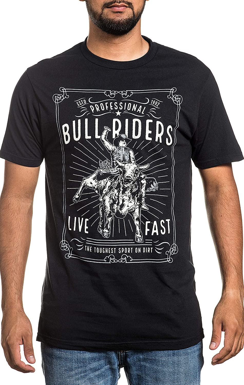B07HR59BCZ Affliction PBR Professional Bull Riders Live Fast Short Sleeve Casual Graphic Fashion T-shirt For Men 91BYD2BpgDuL