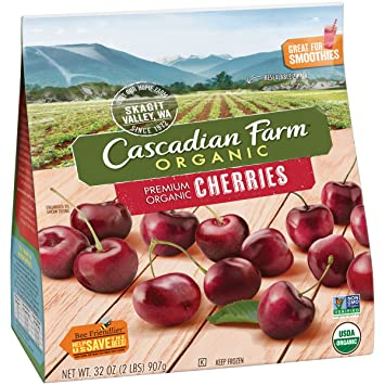 cascadian farm organic cherries 32oz resealable bag frozen organically farmed frozen fruit